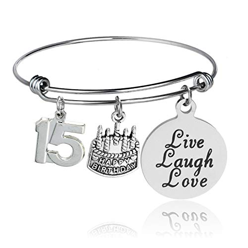 YeeQin Happy Birthday Bangles, Cake Cheer Live Laugh Love Charms Bangle Bracelets, Gifts for Her (15th Birthday)