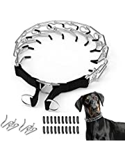 Lewondr Dog Prong Collar, Adjustable Stainless Dog Prong Training Collars with Comfort Protective Rubber Tips, Dog Choke Pinch Collar with Quick Release Buckle