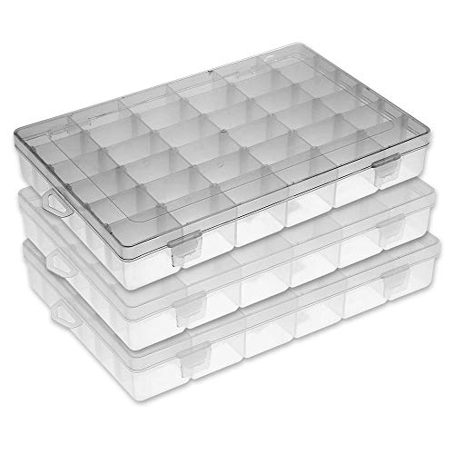 (FSC Lighting Organizer containers Plastic Jewelry Box Storage containers Beads Box Fishing Tackle Storage Boxes Plastic Container with dividers 36grids /3pack)