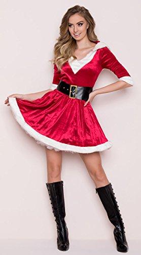 Leg Avenue Women's 2 Piece Mrs. Claus Costume, Red/White,Medium/Large -