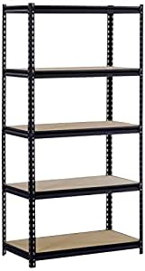 "EDSAL Sandusky UR185P-BLK Black Steel Heavy Duty 5-Shelf Shelving Unit, 4000lbs Capacity, 36"" Width x 72"" Height x 18"" Depth (Does not include post couplers) (4 Pack)"