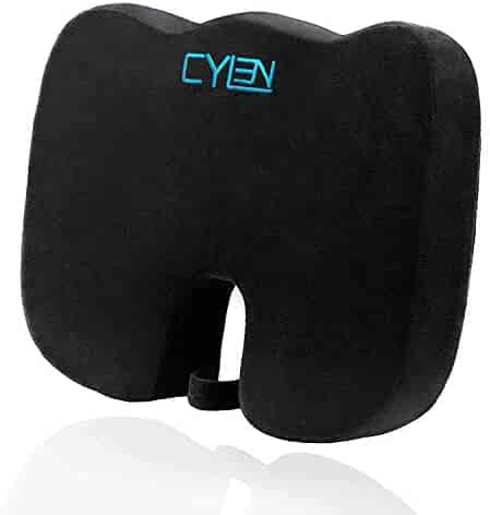 CYLEN Home-Memory Foam Bamboo Charcoal Infused Ventilated Orthopedic Seat Cushion for Car and Office Chair - Washable & Breathable Cover (Black)