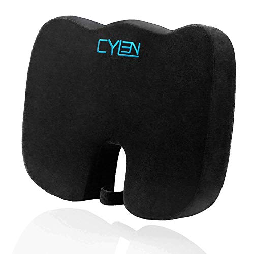 CYLEN Home-Memory Foam Bamboo Charcoal Infused Ventilated Orthopedic Seat Cushion for Car and Office Chair - Washable & Breathable Cover (Black) ()