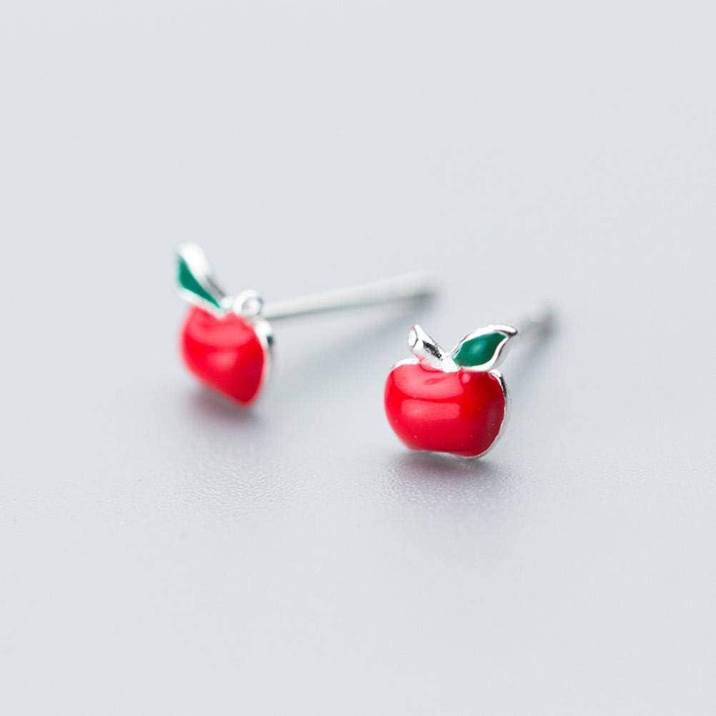 vertice S925 Silver Earrings Female Fashion Red Apple Earrings Cute Temperament Summer Earrings Ear JewelryAs Shown, 925 Silver