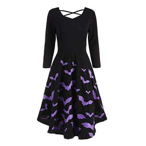 DEATU Ladies Dress Women Halloween Casual Elegance Long Sleeve Hollow Bat Print Flare Dress Party Casual Dresses(Purple 1,L)