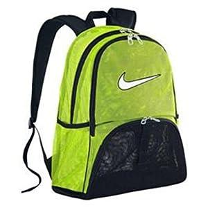 NIKE Brasilia 6 EXTRA LARGE XL Mesh Laptop Gear Backpack School Book Bag Mesh Sport Rucksack (Volt Black with White Swoosh Logo)