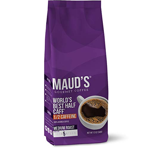 Maud's World's Best Half Caff Ground Coffee (Medium Roast Half Decaf Coffee), 12oz Coffee Bags - Solar Energy Produced 100% Arabica Medium Roast Half Caff Coffee Beans California Roasted