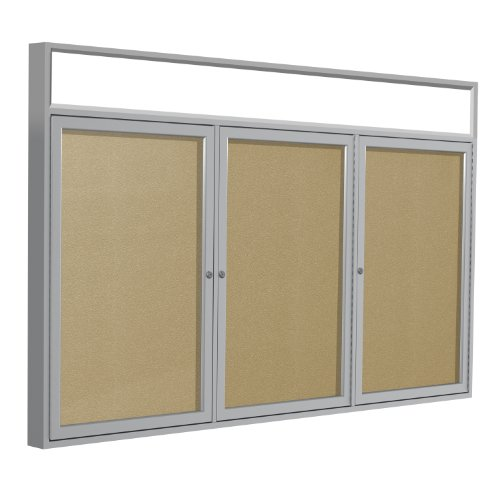 Headliner Cork Bulletin Board - Ghent 4 x 6 inches Outdoor Satin Alum Frame w/ Headliner Enclosed Vinyl Bulletin Board, Caramel, Made in the USA