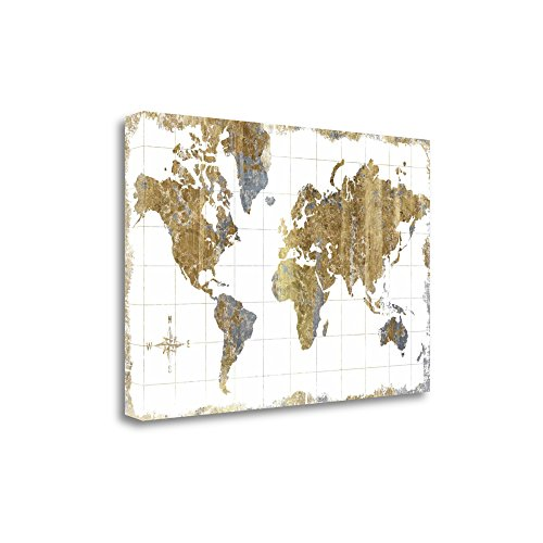 Tangletown Fine Art Gilded Map Print on Gallery Wrap Canvas, 47 x 32, Multi