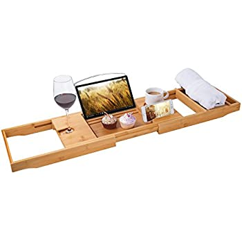 Amazon.com: Bamboo Bathtub Caddy Shower Over Tub Tray Organizer with ...