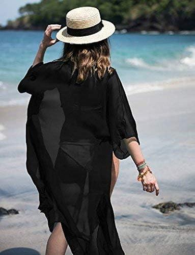 FOCUSNORM Women Chiffon Beach Dress Kimono Cardigan Swimsuit Cover Up Beachwear Dress