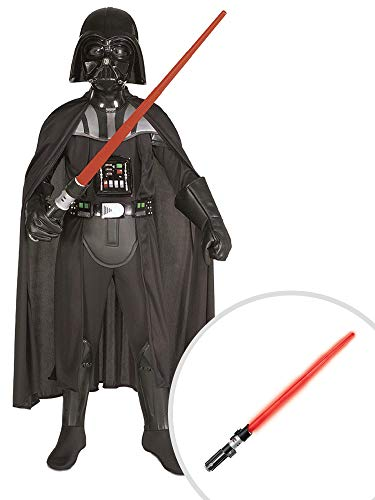 Star Wars Darth Vader Costume Kit Kids Medium Dlx 2005 With Lightsaber