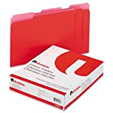 Universal - Recycled Interior File Folders, 1/3 Cut, Top Tab, Letter, Red, 100/Box - Pack of 10