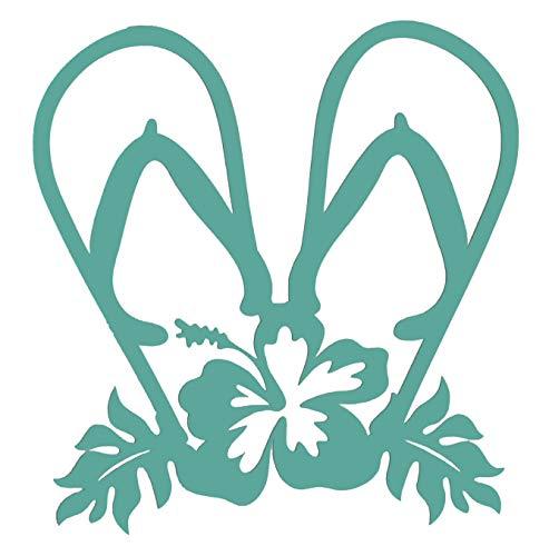 (Custom Vinyl Single Tropical Hibiscus Double Flip Flop Decal Transfer - Beach Sandal Bumper Sticker for Tumblers, Laptops, Car Windows)