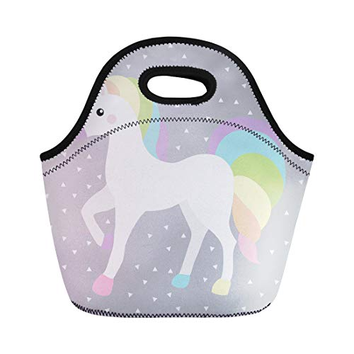 - Semtomn Lunch Tote Bag Unicorn Queen White Rainbow Color Triangle Grey Horse Hair Reusable Neoprene Insulated Thermal Outdoor Picnic Lunchbox for Men Women