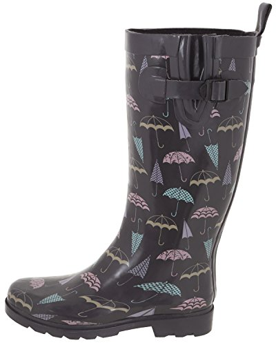 Shiny Tall New York Combo Ladies Rubber Capelli Rain Boots Grey wFRP6qcy