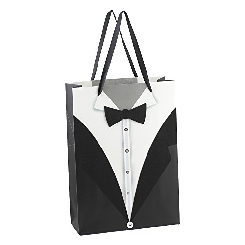 Dzhavael Couture Beautiful High Quality Fancy Wedding Design Black and White Tuxedo Paper Gift Bags set of Large bags by the Dozen (12)