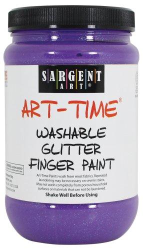Sargent Art 22-9242 16-Ounce Art Time Washable Glitter Finger Paint, Violet