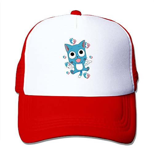 CYSKA Unisex Mesh Cap Hat Fairy Tail Happy Aye Sir Running Caps Hat Red
