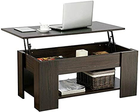 Amazon Com 40 Heavy Duty Durable Lift Top Coffee Table With Hidden Compartment And Storage Shelves Pop Up Storage Cocktail Table For Parlors Drawing Room Living Room Kitchen Anteroom And Office Kitchen