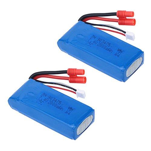 Cheerwing 2pcs 25C 7.4V 2000mAh Lipo Battery (Banana Plug) For Syma X8C X8W X8G Quadcopter