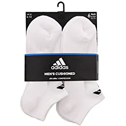 adidas Men\'s 6-Pack No Show Sock, White/Black, Size 6-12