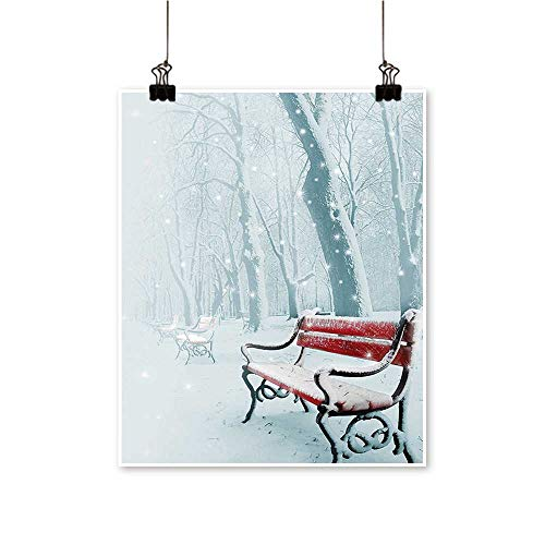 Artwork for Home Decorations Row of Iced Red Benches in A Parks Pathway Misty Crystalline in Home Decor Wall Art,16