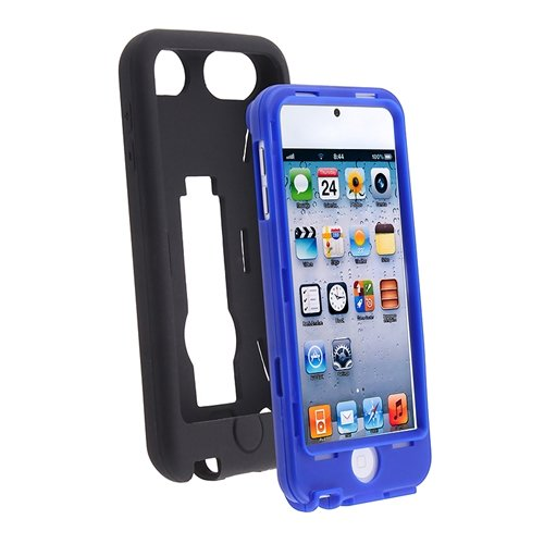 Leegoal(TM) Black / Blue Hybrid Rugged Hard Silicone Case Cover w/ Stand for Apple iPod Touch 5