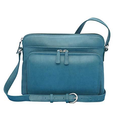 ili New York 6333 Leather Shoulder Handbag with Side Organizer (Jeans Blue) (Cash Divider)