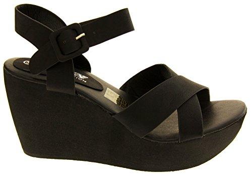 Betsy Ladies Plataforma de la Cuña Sandalias de Tacón Negro