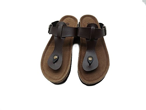 ICEFACE Adjustable Buckle Strap Cork Soft Footbed Flip-Flop Sandal For Women Brown