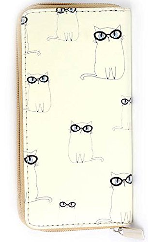 Scholarly Bespeckled White Cat Print Zip Around Wallet Clutch Purse (Poughkeepsie Zip)