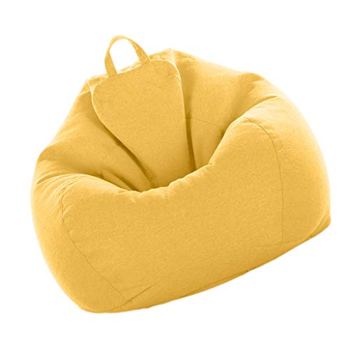 Fityle Bean Bag Cover, Large Beanbag Without Filling, Children Stuffed Animal Toys Storage Beanbag Covers Only - Yellow