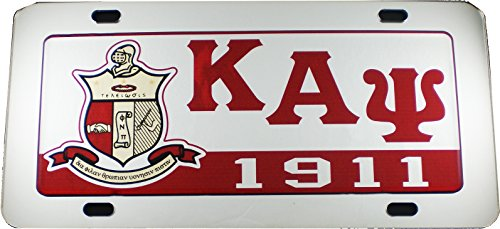 (Cultural Exchange Kappa Alpha Psi Domed Shield Mirror Car Tag License Plate [Silver - Car/Truck])