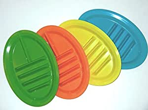 Taco Plate Set of 4 Green/blue/orange/yellow