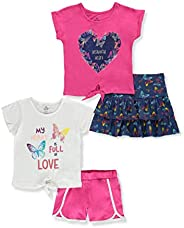 Pink Velvet Girls' Beautiful Butterflies 4-Piece Shorts Set Ou