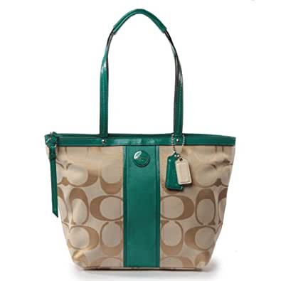 Coach 21950 Signature Stripe Tote Handbag Light Khaki and Bright Jade Green