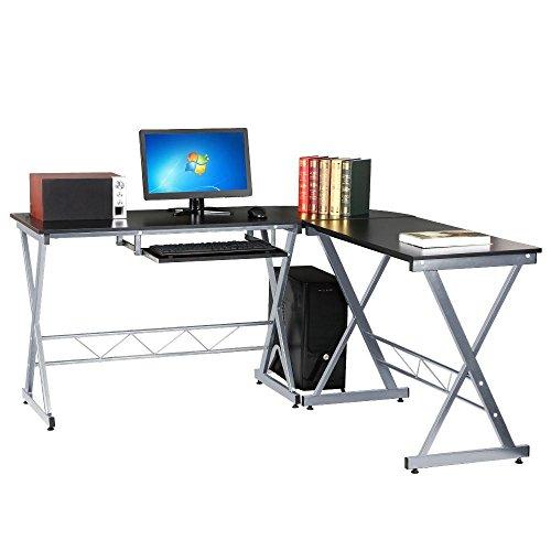 Yaheetech Corner Computer Desk Wood PC Laptop Table with Keyboard Drawer Black Yaheetech