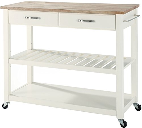 Crosley Furniture Portable Kitchen Cart with Natural Wood Top - (Butcher Block Top Kitchen Cart)