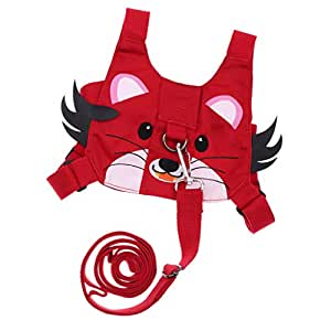 HOMYL Kids Safety Harness Strap Toddler Walking Anti-Lost Rope Pulling Reins Backpack - Red Tiger, as described