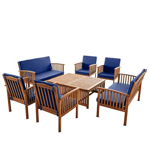 Living Essentials Patio Furniture 8 Piece Outdoor Chat Conversation Table Chair Sofa Set Lounger| Acacia Wood with Teak Finish | Water Resistant Cushions in Navy Blue