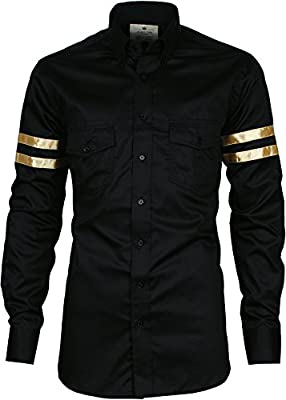 Angel Cola Men's Gold Varsity Striped Casual Cotton Button Down Shirt