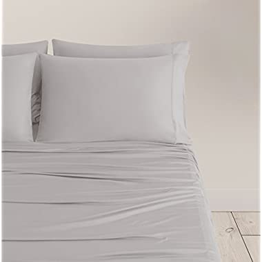 SHEEX Breezy Cooling Sheet Set with 2 Pillowcases, Ultra-Lightweight, Breathable, Silky-Soft Fabric for a Cool and Comfortable Night's Sleep, Silver (King)