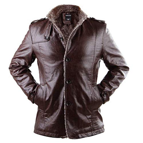 Coat Braun Men's Jacket Faux Apparel with Stand Length 3 Leather Duffle Shoulder Coat Slim Biker Sleeve Leather Long in Huixin Collar Vintage 4 Leather Jacket Peacoat Winter Fit z1qdpxp
