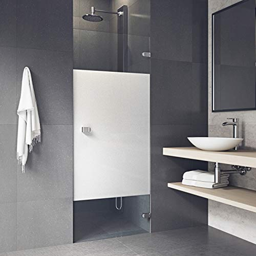 VIGO Tempo 28 to 28.5-in. Adjustable Frameless Shower Door with .3125-in. Privacy Panel Glass and Chrome Hardware