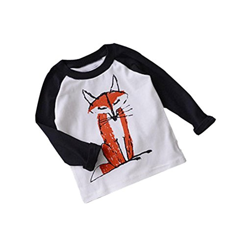 DaySeventh 2017 Baby Kids Boys Girls Long Sleeve Fox Cute T-Shirt Tops (24M, Black)