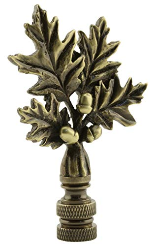 "Oak Leaf Lamp Shade Finial 3"" Tall Vintage Antique Gold Look Lamp Shade Topper Solid Brass with Acorns"
