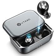 #LightningDeal Wireless Earbuds, Utaxo Bluetooth 5.0 in-Ear Stereo Headphones with 100Hours Playtime, 2200mAh Slide Aluminum Charging Case, IPX7 Waterproof TWS Stereo Headphones, Built-in Mic Single/Twin Mode