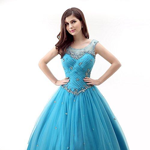 Quinceanera Ballkleid Blau Kleid Trägern Büste Rüschen Kristall Tüll engerla Illusion Frauen gRvwqEY8