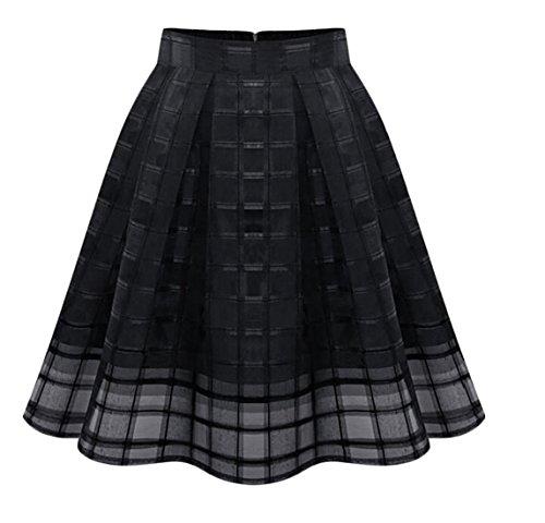 heymoney Women Mini Fashion Elastic Waist Mesh Skirts Black L